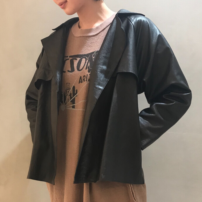 LEATHER TRENCH SHORT JACKET
