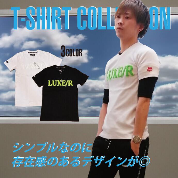 【メンズ】ネオン刺繍スパンテレコTシャツ