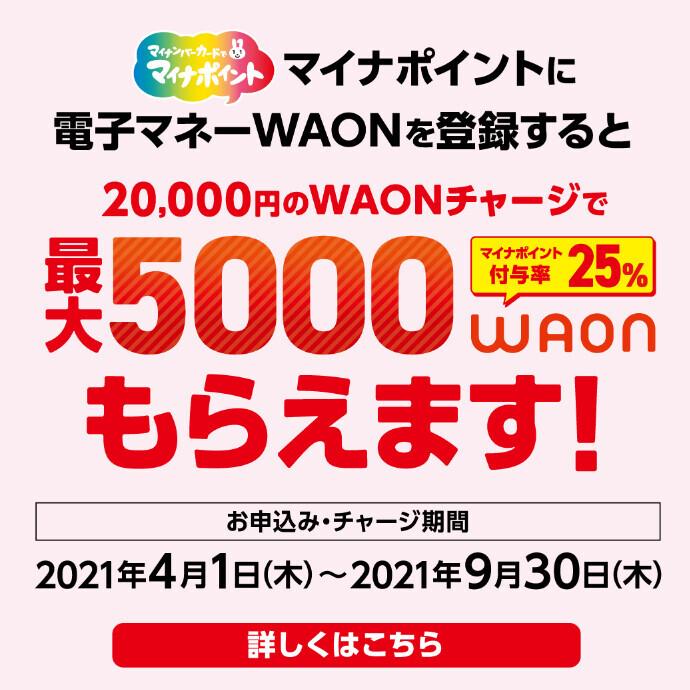 マイナポイントに電子マネーWAONを登録すると最大5,000WAONもらえます!