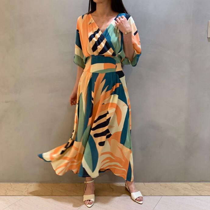 TROPICAL PRINT CACHE-COEUR DRESS