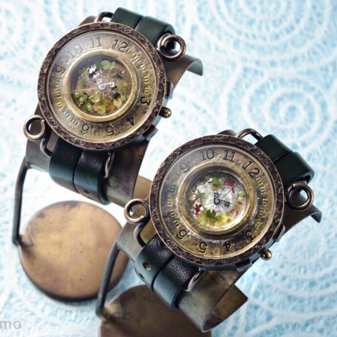 金魚鉢2(レッド) 手作り腕時計/クオーツ時計
