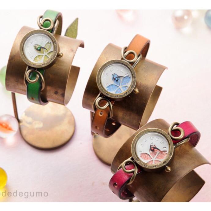 花模様  手作り腕時計/クオーツ時計