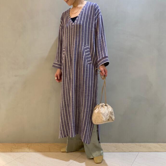 STRIPE CAFTAN LONG DRESS