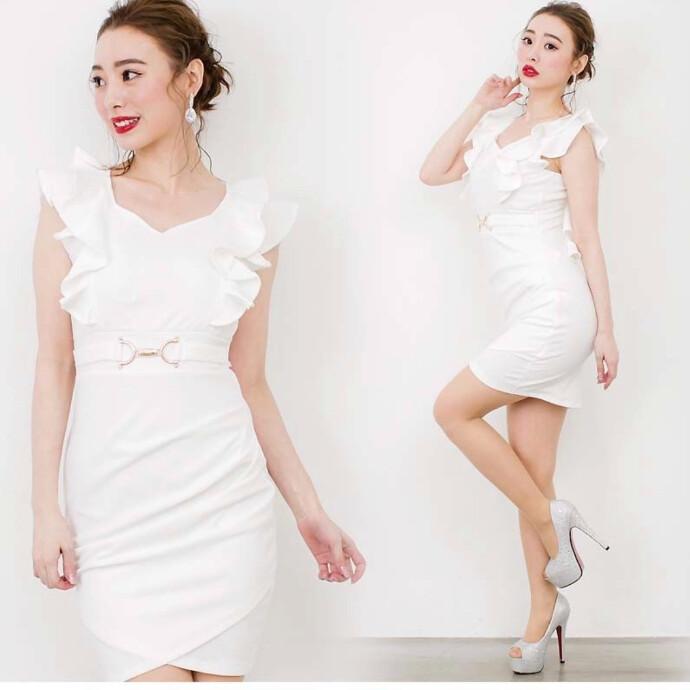 ダブルフリルスリーブミニタイトドレス♡