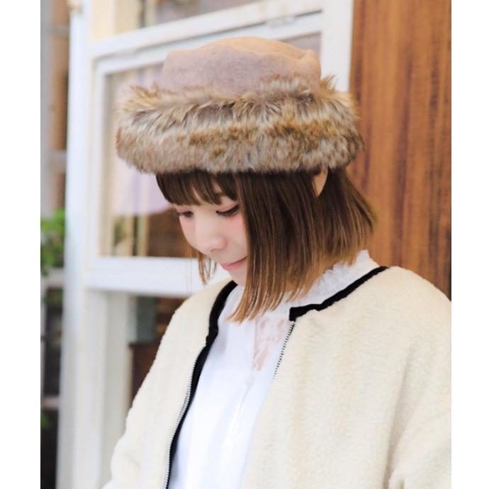 フェルトフェイクファートーク帽