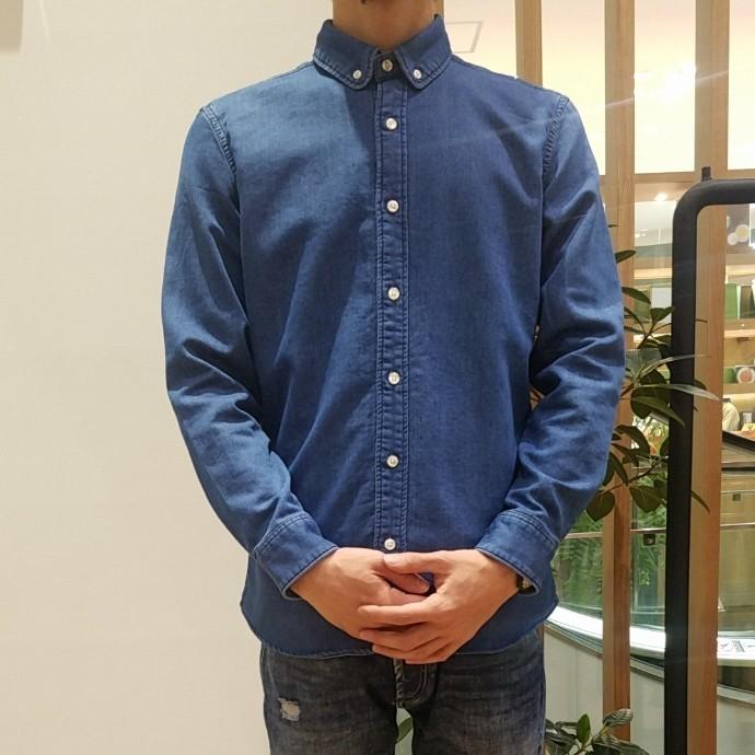 San Francisco☆ニットデニム ラウンドカラーボタンダウンシャツ