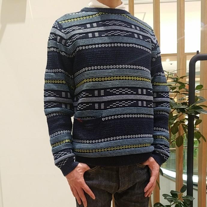 BLUE BLUE☆インディゴコットン ベンガルボーダーセーター