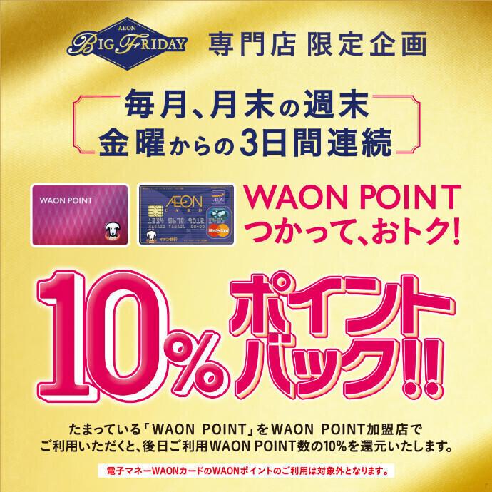 【ビックフライデー】WAON POINTつかって、おトク!10%ポイントバック!!