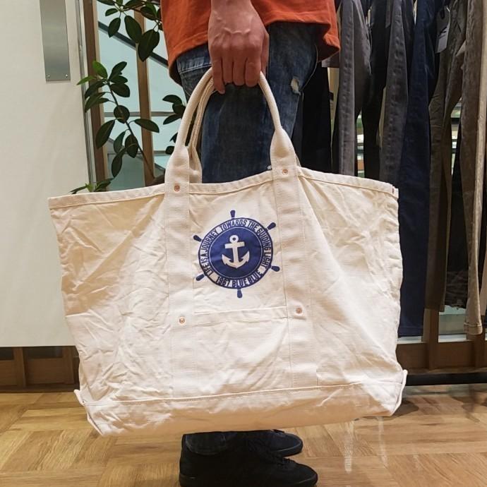 BLUE BLUE☆ハンドルアンカーヘビーキャンバス ヴィンテージトートバッグ