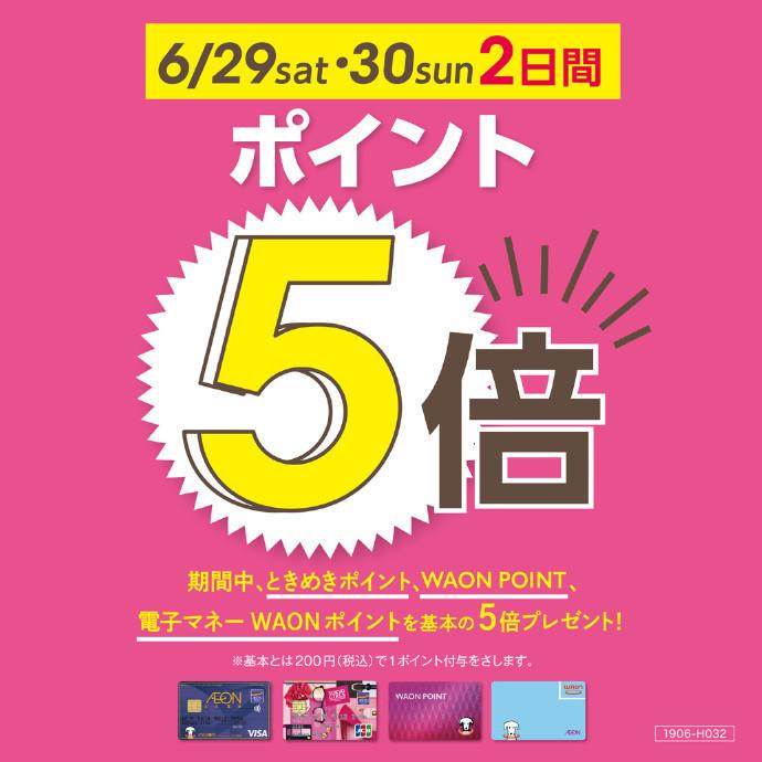 WAON ポイント5倍 6/29(土)~6/30(日)!
