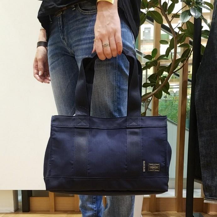 PORTER・BLUE BLUE☆インディゴナイロンコンビ トートバッグS