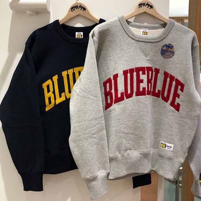 RUSSELL BLUEBLUE☆SWEAT TACKLE CREW NECK