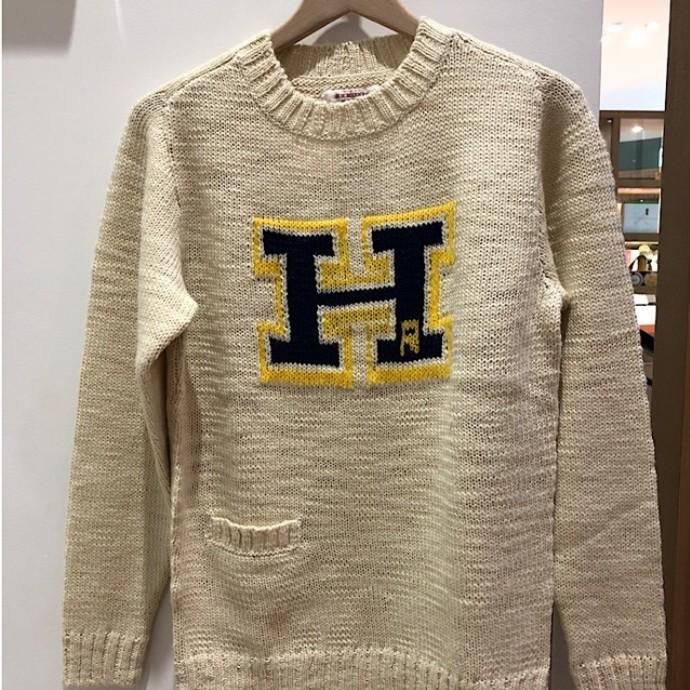 HRM☆ウールアクリル ベルベットスラブ シャドーHセーター