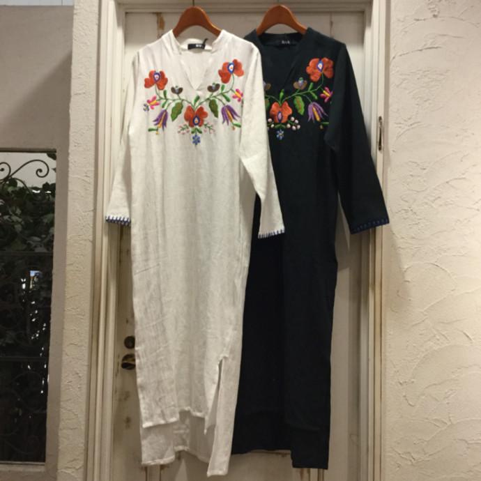 刺繍カフタンロングワンピース