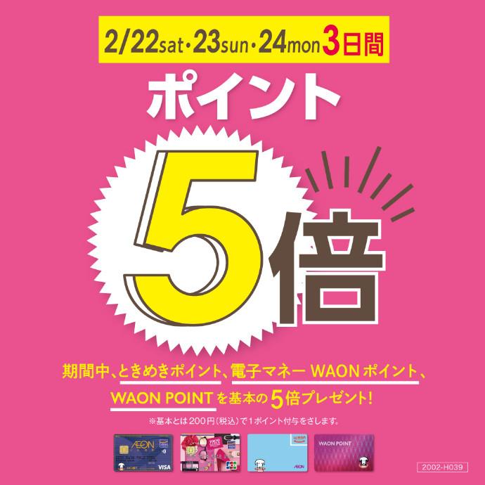 ポイント5倍 2/22(土)・23(日)・24(月祝)