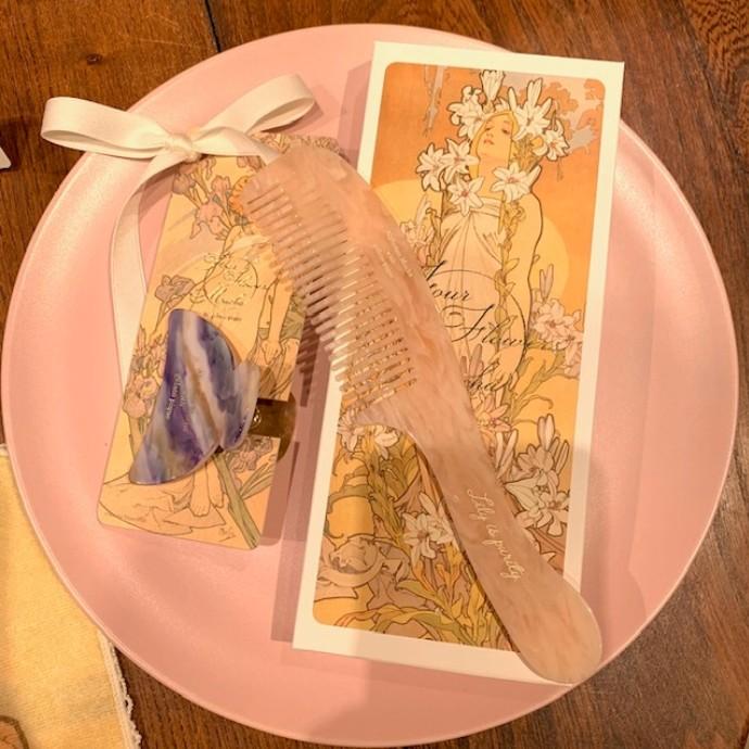 【ミュシャと四つの花】アイリスヘアクリップ&リリーヘアコーム