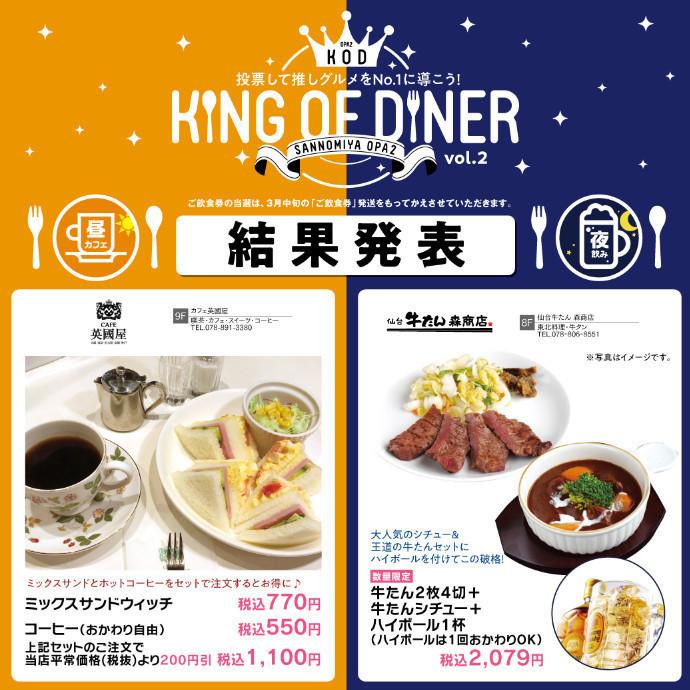 【結果発表】KING OF DINER 第2弾 『昼カフェ vs 夜飲み』