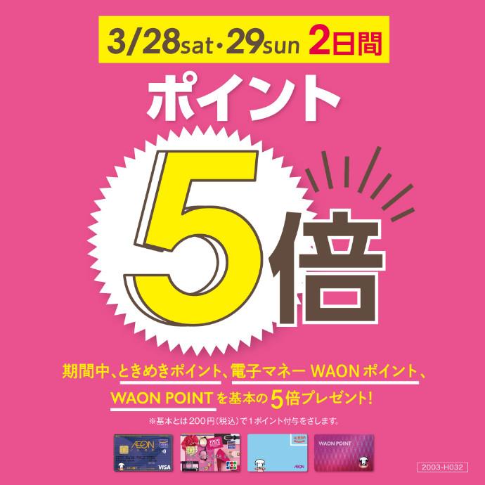 ポイント5倍開催 3/28(土)・3/29(日)