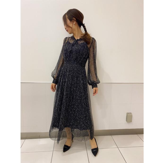 透けドットドレス