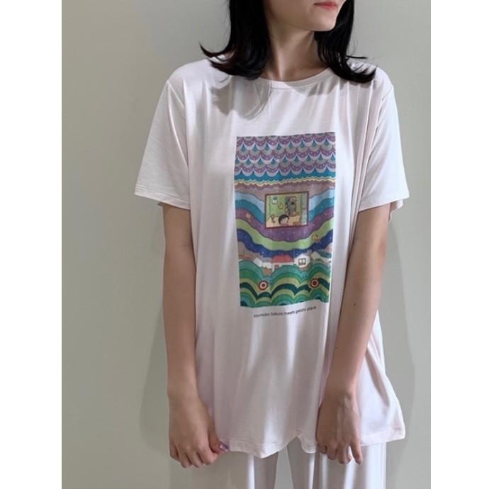 【さくらももこ×ジェラート ピケ】Tシャツ&ロングパンツコーデ
