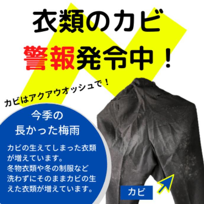 衣類のカビが増えています!