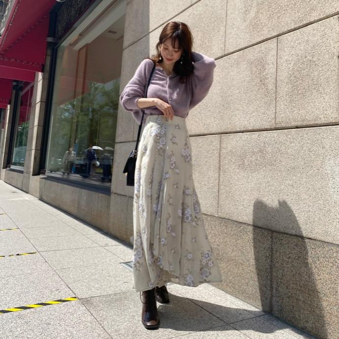 楊柳刺繍イレヘムロングスカート