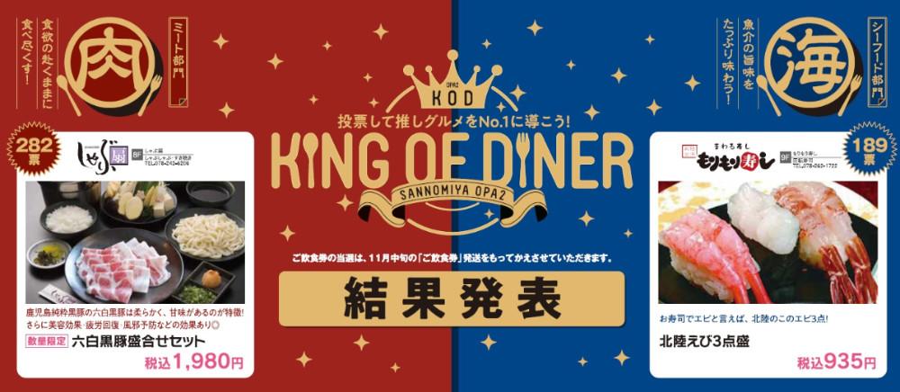 「KING OF DINER」結果発表