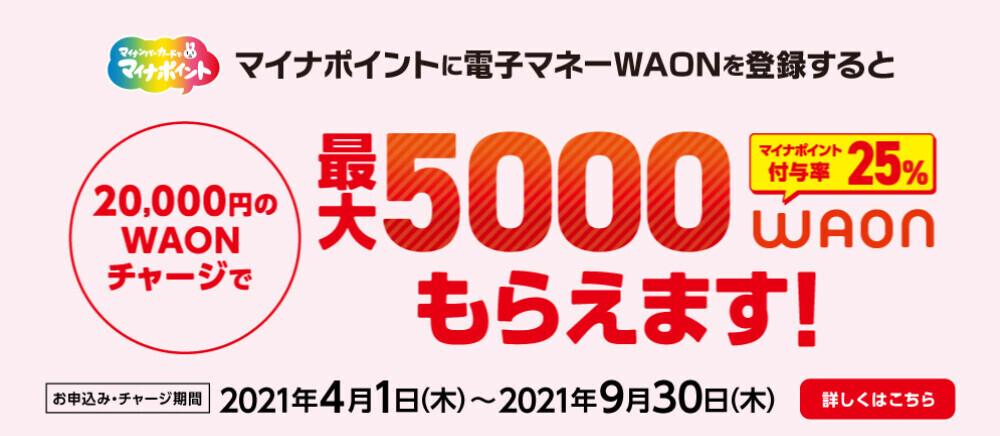 マイナポイントに電子マネーWAONを登録すると最大5000WAONもらえます!